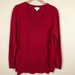 Maison Jules Red V-Neck Sweater L